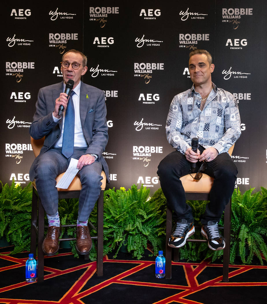 Wynn Las Vegas Entertainment Director Rick Gray and Robbie Williams and shown at Lakeside Restaurant at Wynn Las Vegas on Tuesday, March 5, 2019. (Erik Kabik Photography)