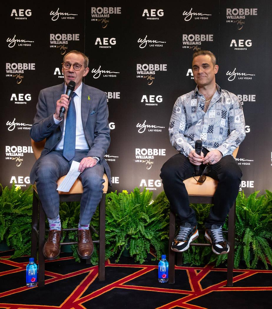 Wynn Las Vegas Entertainment Director Rick Gray and Robbie Williams and shown at Lakeside Restaurant at Wynn Las Vegas on Tuesday, March 5, 2019. (Erik Kabik Photography)