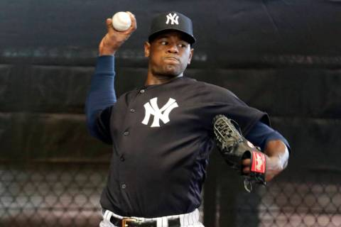 New York Yankees starting pitcher Luis Severino throws in the bullpen at the Yankees spring training baseball facility, in Tampa, Fla. on Feb. 14, 2019. (AP Photo/Lynne Sladky, File)