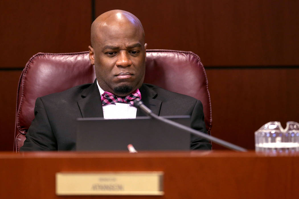 Sen. Kelvin Atkinson, D-North Las Vegas, watches a presentation during a Finance Committee meeting in the Legislative Building in Carson City Wednesday, Feb. 6, 2019. (K.M. Cannon/Las Vegas Review ...