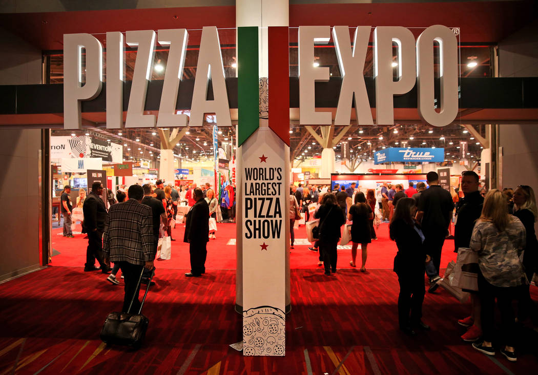 Conventioneers at the International Pizza Expo at the Las Vegas Convention Center Tuesday, March 5, 2019. (K.M. Cannon/Las Vegas Review-Journal) @KMCannonPhoto