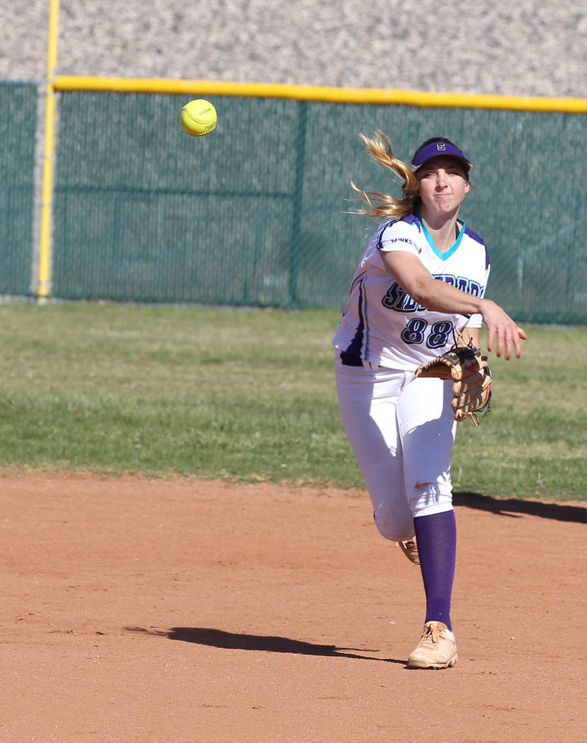 Silverado's Megan Johnson throws to first during a softball game against Coronado Monday, March 19, 2018, at Silverado High School. K.M. Cannon Las Vegas Review-Journal @KMCannonPhoto