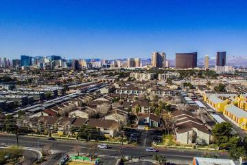 Laguna Point Properties acquired two apartment complexes near the Las Vegas Convention Center -- Mi Casita, seen above, and Pinewood Crossing -- for $67.7 million combined. (Courtesy of NAI Vegas)
