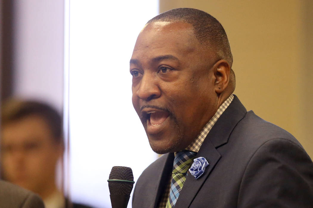 Assemblyman Tyrone Thompson, D- North Las Vegas, speaks during a floor session in the Legislative Building in Carson City Wednesday, Feb. 6, 2019. Thompson cosponsored AB 168 - a school discipline ...
