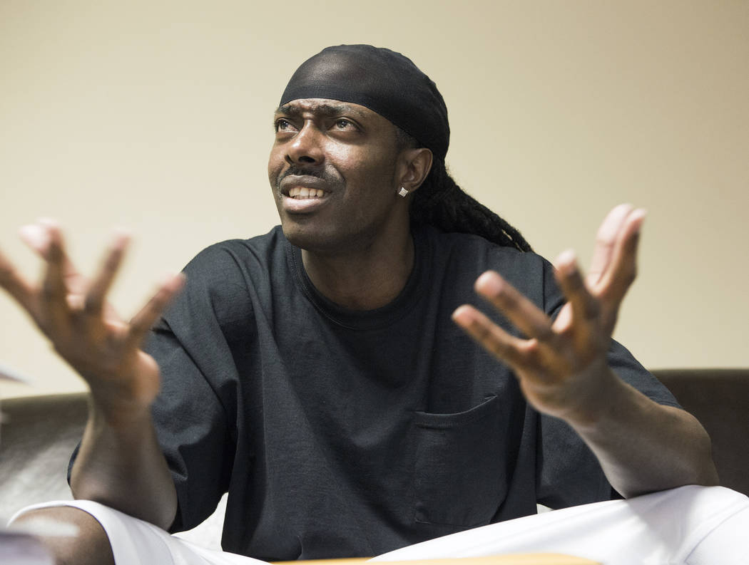 Robbery defendant Brian Wright, talks about his federal court case at Bellon & Maningo law office, 732 S. Sixth St., on Tuesday, May 3,2016. A federal judge ripped into prosecutors for waiting to ...