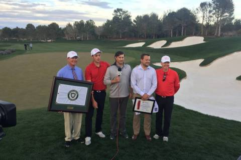 Southern Highlands head pro Jim Delaney, individual champion Jack Trent, Golfweek live stream announcer Ned Michaels, Shriners Hospitals for Children Open executive director Patrick Lindsey and UN ...