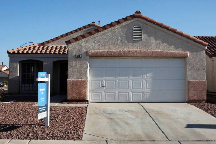 The median sales price of previously owned single-family homes in the Las Vegas Valley was $296,200 in February, down from January but up from February 2018. (Bizuayehu Tesfaye/Las Vegas Review-Jo ...