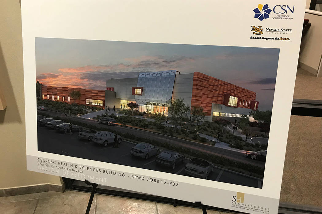 A rendering outside the Henderson City Council chambers shows the health and sciences building planned for the College of Southern Nevada Henderson campus. The building will be shared with Nevada ...