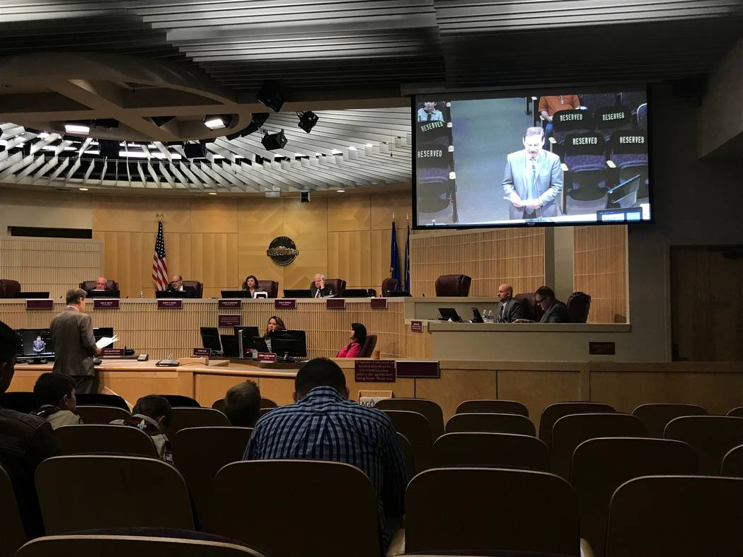College of Southern Nevada President Federico Zaragoza address the Henderson City Council on Tuesday, March 5, 2019. (Blake Apgar/Las Vegas Review-Journal)