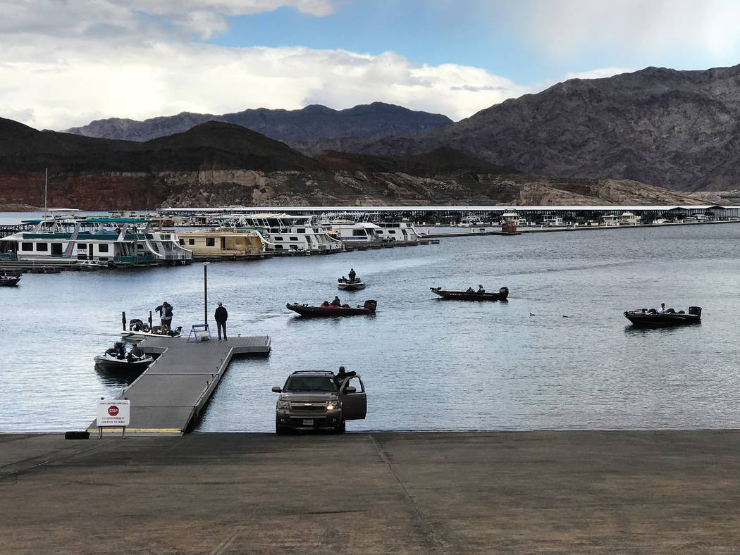 Anglers competing in the YETI FLW College Fishing Western Conference Tournament at Callville Bay Marina wait near the launch ramp to trailer their boats so they can make their weigh-in time. (Dou ...