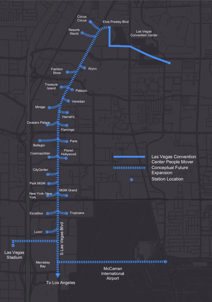 The Boring Company's proposed underground autonomous vehicle network could eventually link high traffic areas of the the Las Vegas Valley. (Las Vegas Convention and Visitors Authority)