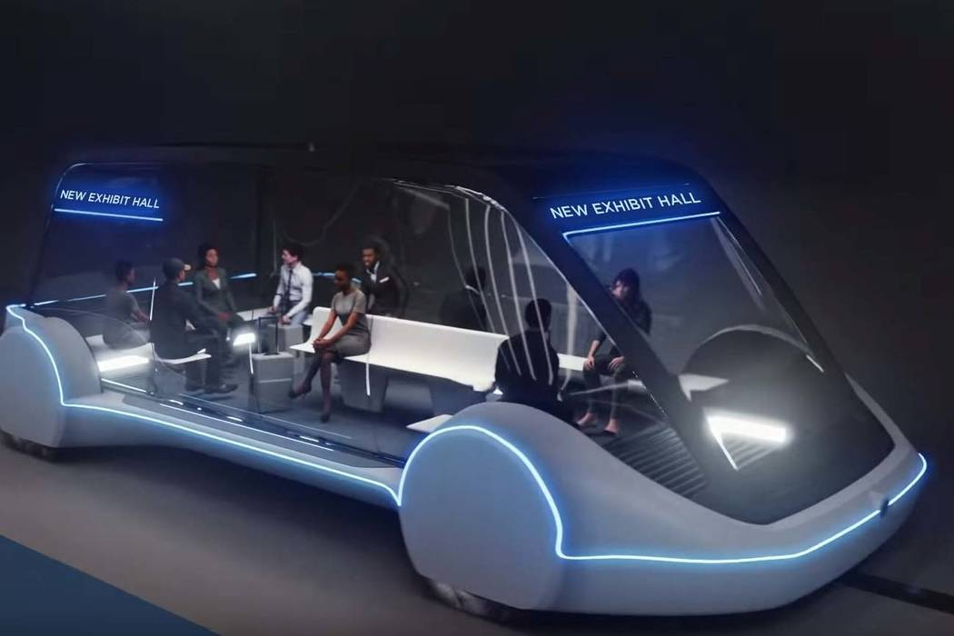 High-occupancy autonomous electric vehicles would run between exhibit halls at the Las Vegas Convention Center. (The Boring Company)