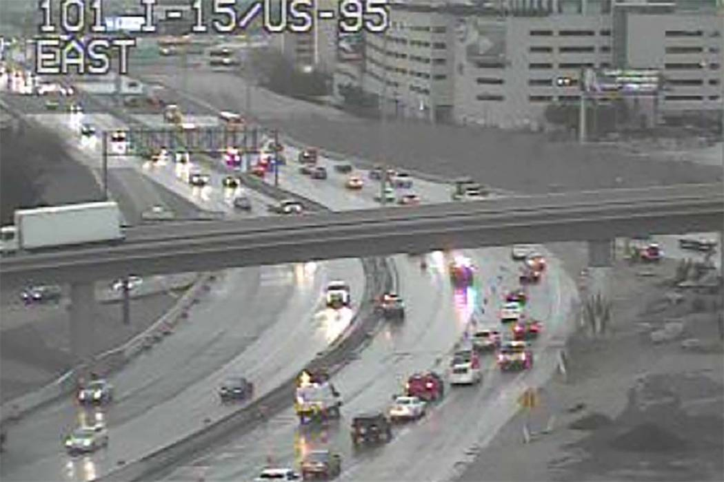 Crash on southbound U.S. Highway 95 at Interstate 15 in the Spaghetti Bowl near downtown Las Vegas, Wednesday, March 6, 2019. (RTC Cameras)