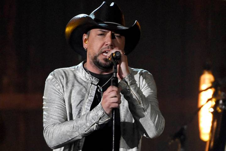 "Jason Aldean performs ""You Make It Easy"" at the 53rd annual Academy of Country Music Awards at the MGM Grand Garden Arena on Sunday, April 15, 2018, in Las Vegas. (Chris Pizzello/Invision/AP)"