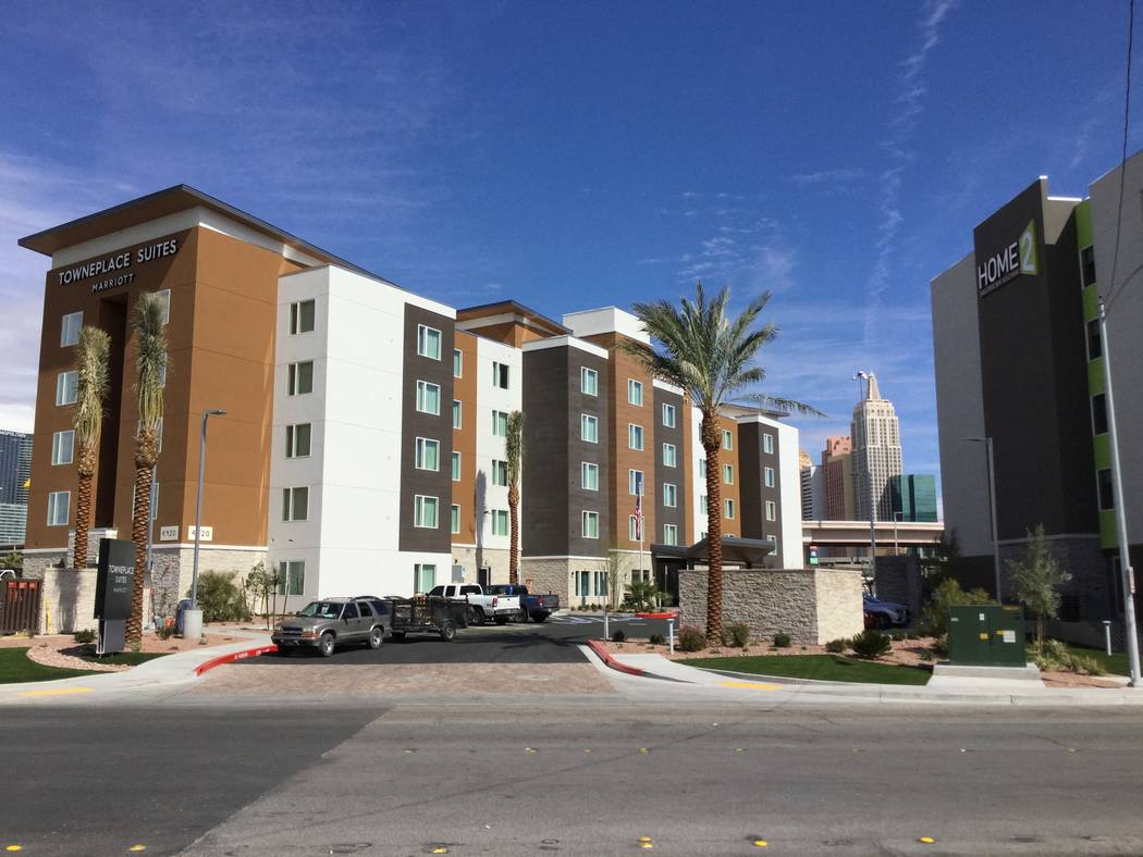 A TownePlace Suites hotel and a Home2 Suites hotel are seen Tuesday, March 5, 2019, at Tropicana Avenue and Dean Martin Drive in Las Vegas. An investor drew up plans for a 41-story resort there, O ...