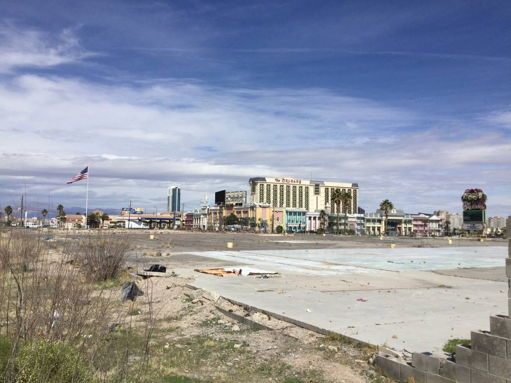 During the mid-2000s, investors wanted to build Pinnacle Las Vegas, a two-tower hotel-condo project, at this vacant site near The Orleans, seen Tuesday, March 5, 2019. (Eli Segall/Las Vegas Review ...