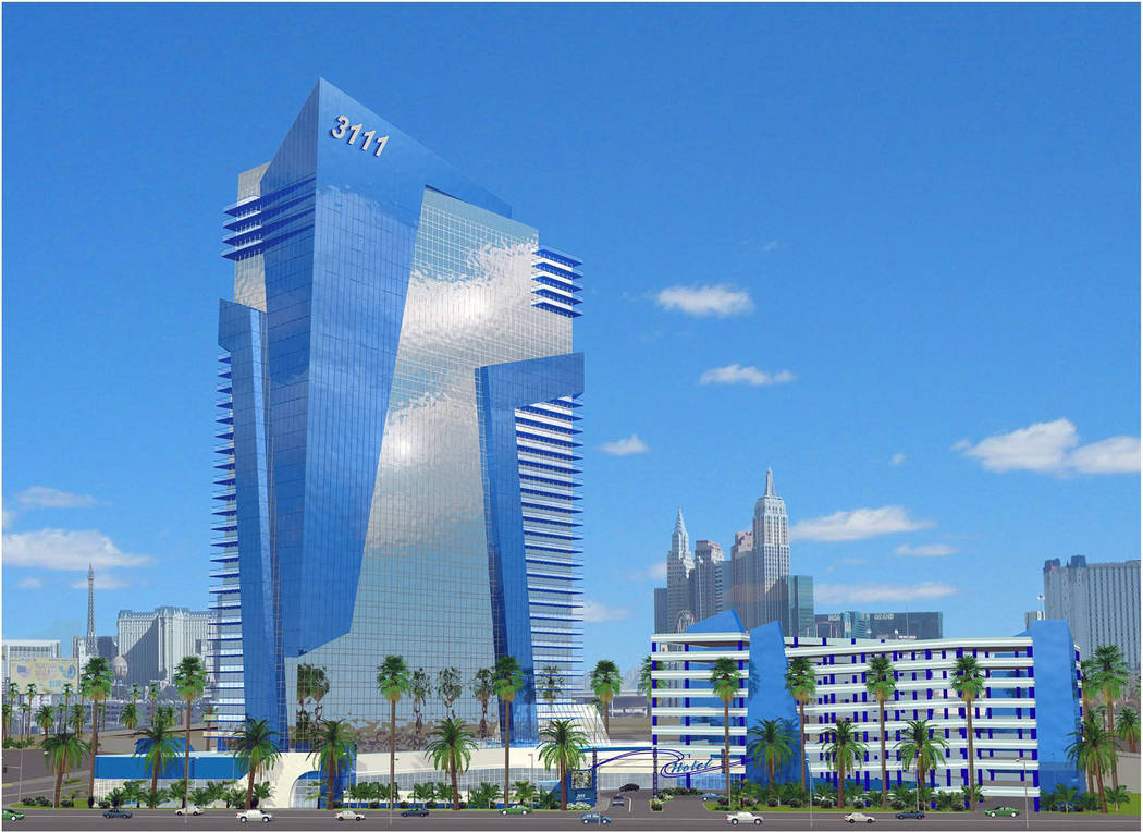 The 41-story One Trop, seen in this rendering, was supposed to be built at Tropicana Avenue and Dean Martin Drive. The site today has two small hotels. (Review-Journal file)