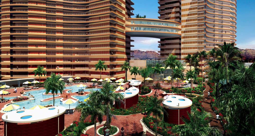 Pinnacle Las Vegas, a rendering of which is seen here, was supposed to have two 36-story towers on Tropicana Avenue at Cameron Street, near The Orleans. The project was never built. (Review-Journa ...