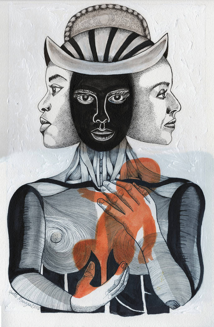 """""""Zero Tolerance,"""" painting by Yvette Mangual, will be on display in the """"Transitions"""" exhibit opening at Left of Center Art Gallery."""