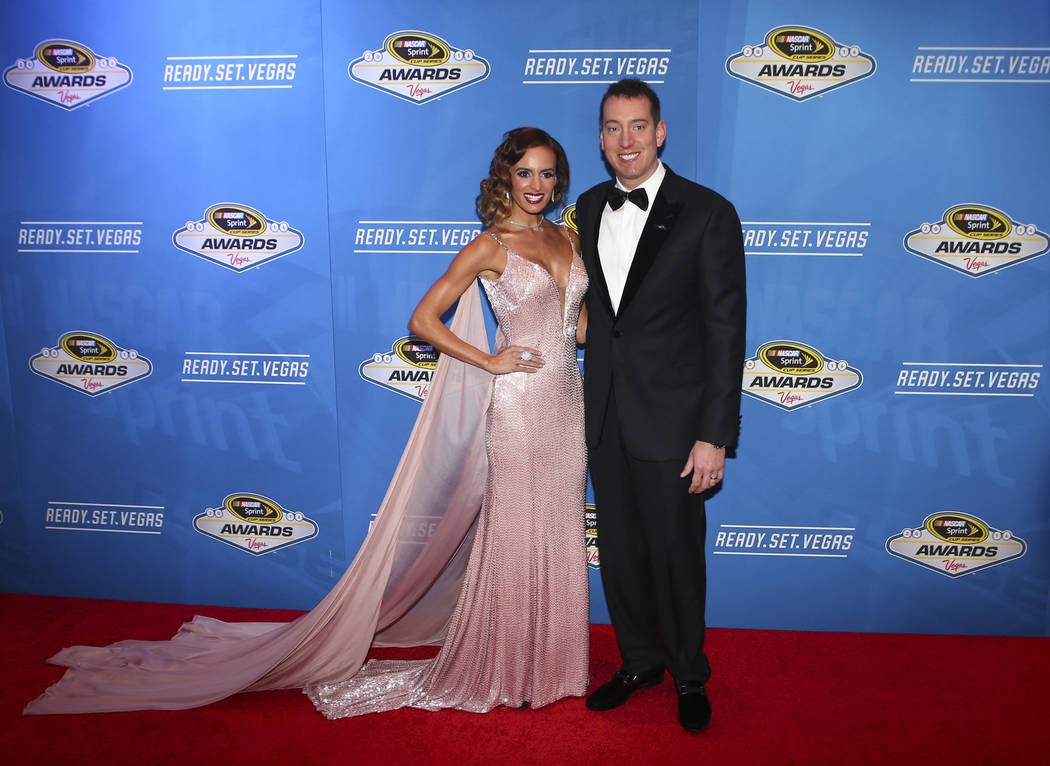 Kyle Busch, with wife Samantha, arrive for the the NASCAR Sprint Cup Series auto racing awards at the Wynn hotel-casino in Las Vegas on Friday, Dec. 2, 2016. (Chase Stevens/Las Vegas Review-Journa ...