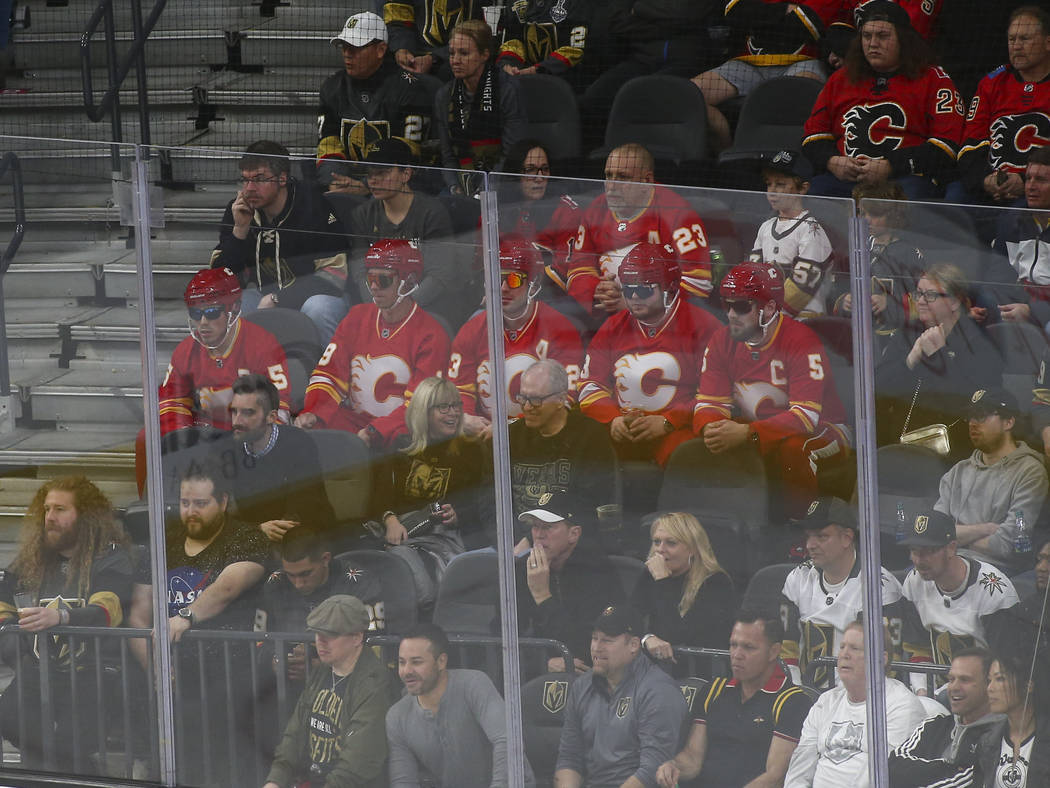 Calgary Flames fans react during the third period of an NHL hockey game against the Golden Knights at T-Mobile Arena in Las Vegas on Wednesday, March 6, 2019. (Chase Stevens/Las Vegas Review-Journ ...