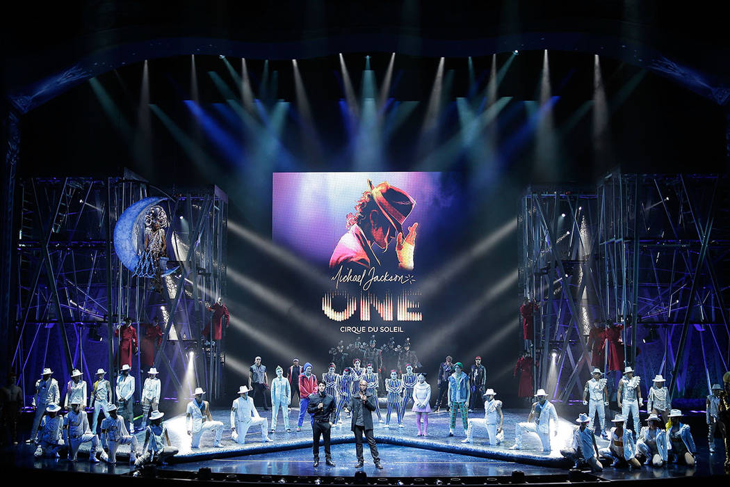 """Director of Creation Welby Altidor (CL) and Writer and Director Jamie King (CR) introduce a sneak peek of """"Michael Jackson ONE"""" by Cirque du Soleil at Mandalay Bay Resort & Casino on May 7, 2013 i ..."""