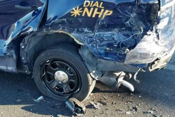 A Nevada Highway Patrol car was involved in a crash Saturday, Feb. 16, 2019. (NHP Southern Command/Twitter)