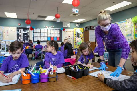 """Nikki McGuire teaches her kindergarten students during a class at Staton Elementary in Las Vegas, Tuesday, March 5, 2019. Every Tuesday the school wears """"Hope for Nikki"""" shirts to show t ..."""