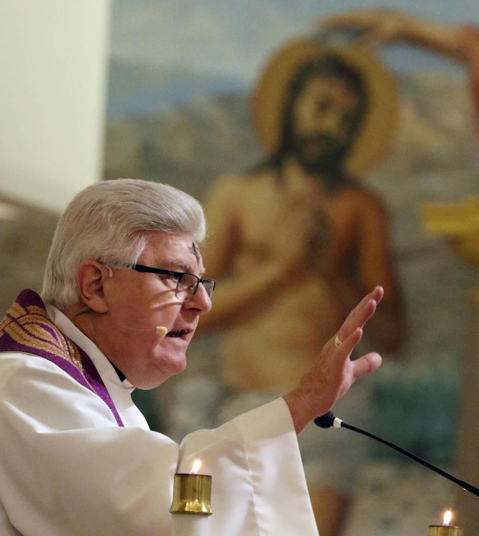 Rev. Larry Lentz celebrates Ash Wednesday at St. Viator Catholic Church on Wednesday, March. 6, 2019, in Las Vegas. Bizuayehu Tesfaye Las Vegas Review-Journal @bizutesfaye