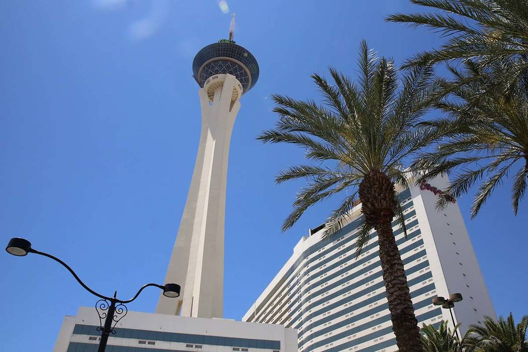 The Stratosphere hotel-casino on Monday, June 12, 2017, in Las Vegas. Golden Entertainment, operators of the PT's Pubs chain is acquiring a company that owns four Nevada casinos, including ...