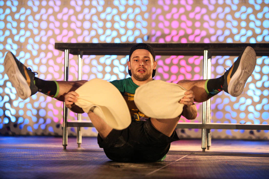 Nathan Wilson competes in the dough-tossing championship of the International Pizza Expo at the Las Vegas Convention Center in Las Vegas, Wednesday, March 6, 2019. (Caroline Brehman/Las Vegas Revi ...