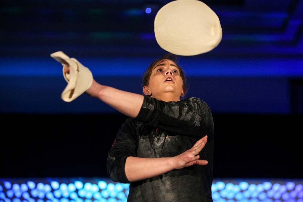 Tara Hattan competes in the dough-tossing championship of the International Pizza Expo at the Las Vegas Convention Center in Las Vegas, Wednesday, March 6, 2019. (Caroline Brehman/Las Vegas Review ...