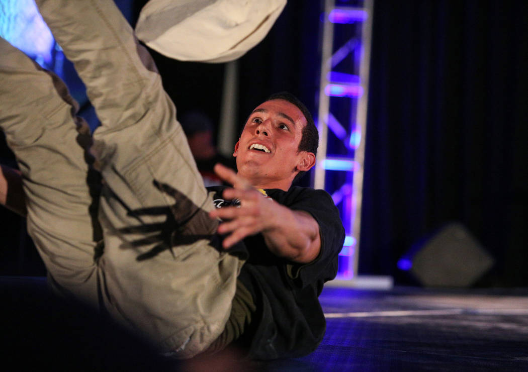 Scott Volpe from Arizona competes in the dough-tossing championship of the International Pizza Expo at the Las Vegas Convention Center in Las Vegas, Wednesday, March 6, 2019. (Caroline Brehman/Las ...