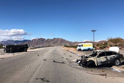 The Nevada Highway Patrol says one person was killed in a two-vehicle crash on U.S. Highway 93 near Boulder City, Thursday, March 7, 2019. (Nevada Highway Patrol)