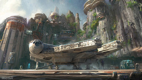 A storyboard concept from Disney artists featuring designs for the upcoming Star Wars land currently under construction in Disneyland.