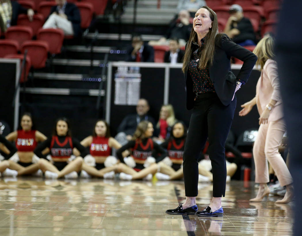 UNLV Lady Rebels head coach Kathy Olivier in the first quarter of a quarterfinal game against Fresno State in the Mountain West women's basketball tournament at the Thomas & Mack Center in Las ...