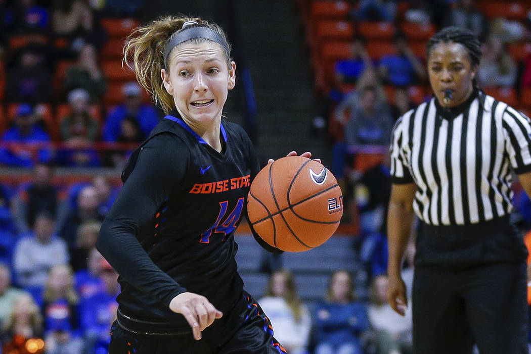 Boise State guard Marta Hermida (20) drives with the ball against Louisville in the second half of an NCAA college basketball game, Monday, Nov. 19, 2018, in Boise, Idaho. (AP Photo/Steve Conner)