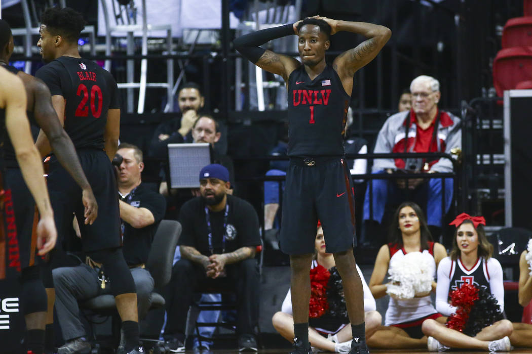 UNLV Rebels guard Kris Clyburn (1) reacts in the final moments of a quarterfinal game against San Diego State in the Mountain West men's basketball tournament at the Thomas & Mack Center in La ...