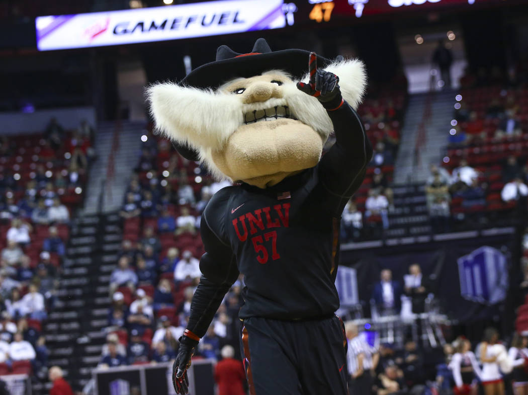 UNLV mascot Hey Reb! points to the crowd during the second half of a quarterfinal game against San Diego State in the Mountain West men's basketball tournament at the Thomas & Mack Center in L ...