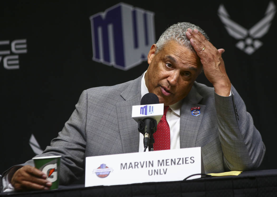 UNLV Rebels head coach Marvin Menzies speaks after his team's loss to San Diego State in the Mountain West men's basketball tournament at the Thomas & Mack Center in Las Vegas on Thursday, Mar ...