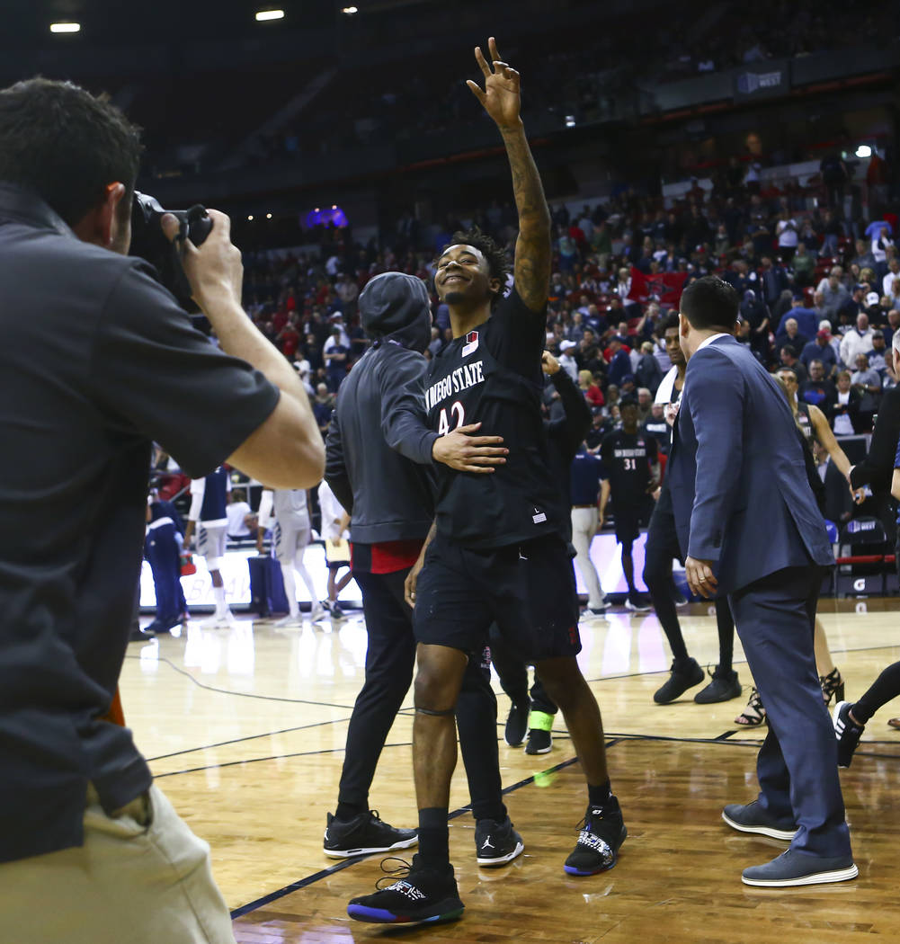 San Diego State Aztecs guard Jeremy Hemsley (42) celebrates his team's win against UNR in a semifinal basketball game at the Mountain West men's basketball tournament at the Thomas & Mack Cent ...