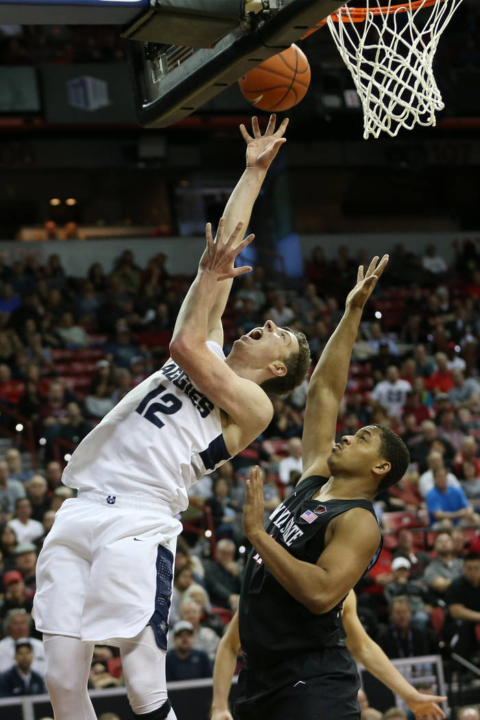 in the second half of the Mountain West tournament men's basketball championship game at the Thomas & Mack Center in Las Vegas, Saturday, March 16, 2019. Erik Verduzco Las Vegas Review-Journal ...