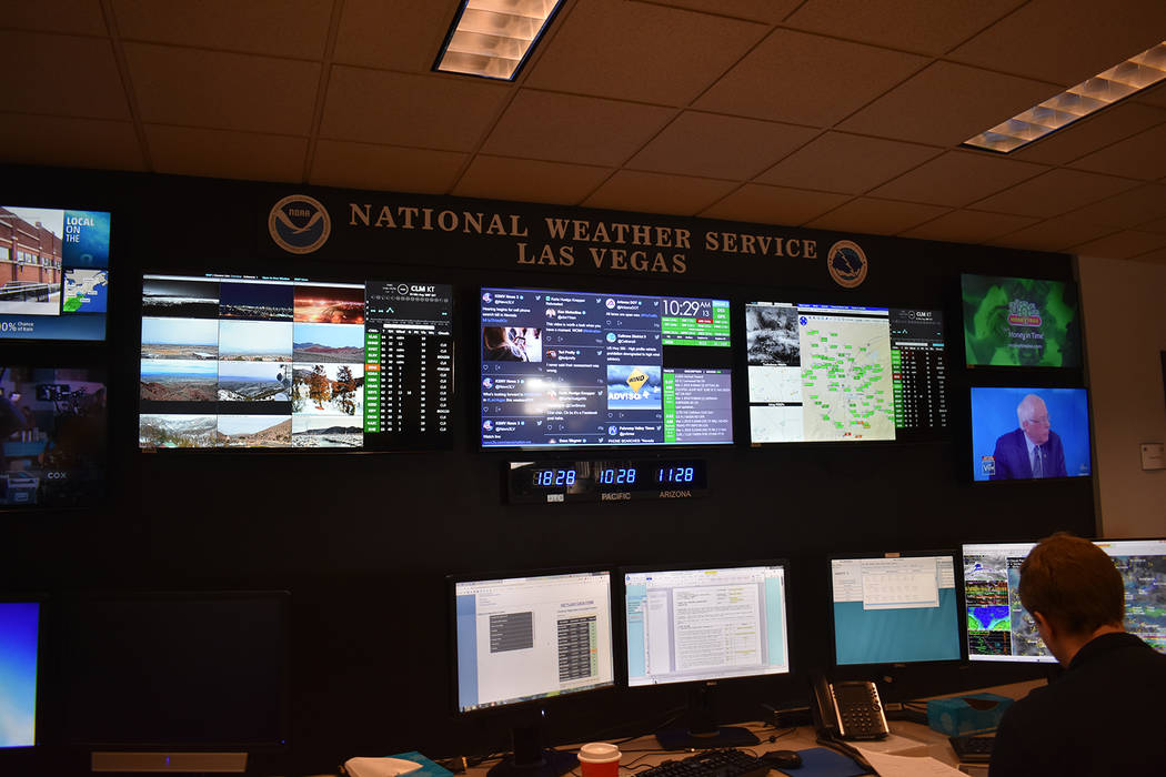"""The forecast office monitors social media, aviation conditions, satellite images, and wind observations on the """"situational awareness board."""" (Rachel Spacek/Las Vegas Review-Journal @Rachel Spacek)"""