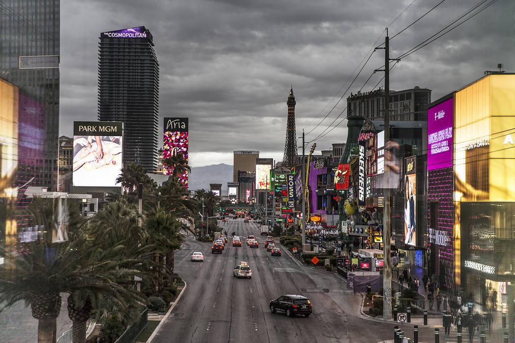 Dark clouds form above The Strip on Monday, Jan. 14, 2019, in Las Vegas. (Benjamin Hager/Las Vegas Review-Journal)