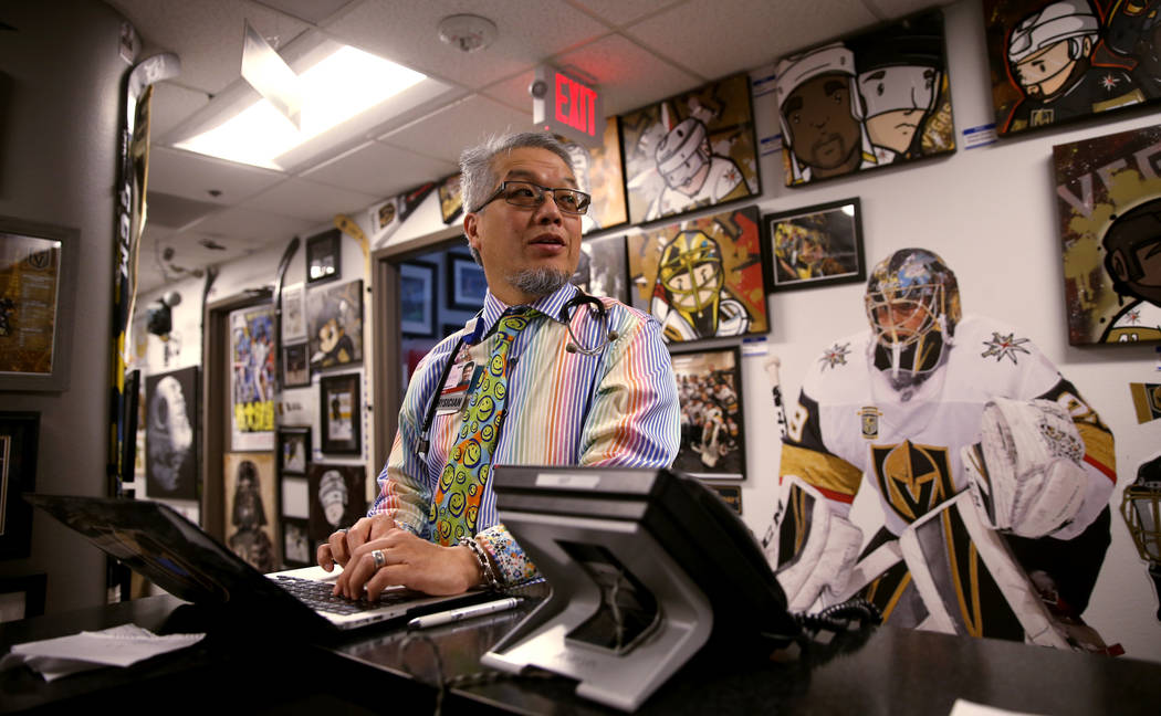 Pulmonologist Dr. Craig Nakamura, director of the Cystic Fibrosis Center of Southern Nevada, works in his Las Vegas office Thursday, March 7, 2019. (K.M. Cannon/Las Vegas Review-Journal) @KMCannon ...