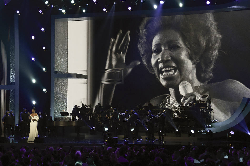 """FILE - In this Sunday, Jan. 13, 2019, file photo, Jennifer Hudson performs at the """"Aretha! A Grammy Celebration For The Queen Of Soul"""" event at the Shrine Auditorium in Los Angeles. The ..."""