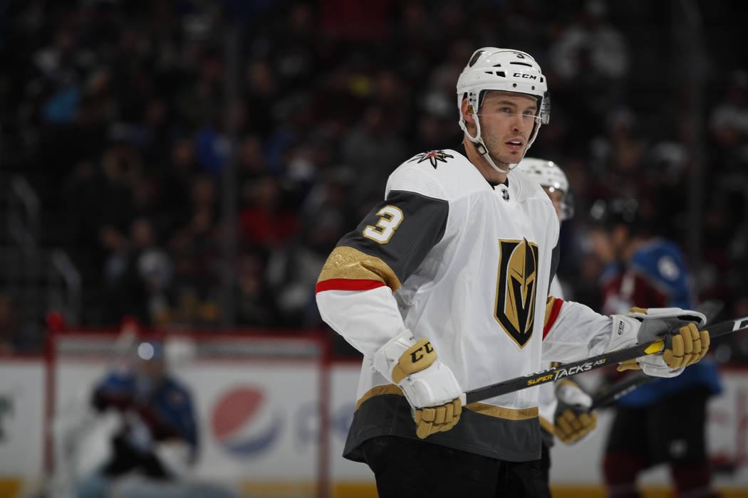 Vegas Golden Knights defenseman Brayden McNabb (3) in the third period of an NHL hockey game Monday, Feb. 18, 2019, in Denver. Colorado won 3-0. (AP Photo/David Zalubowski)