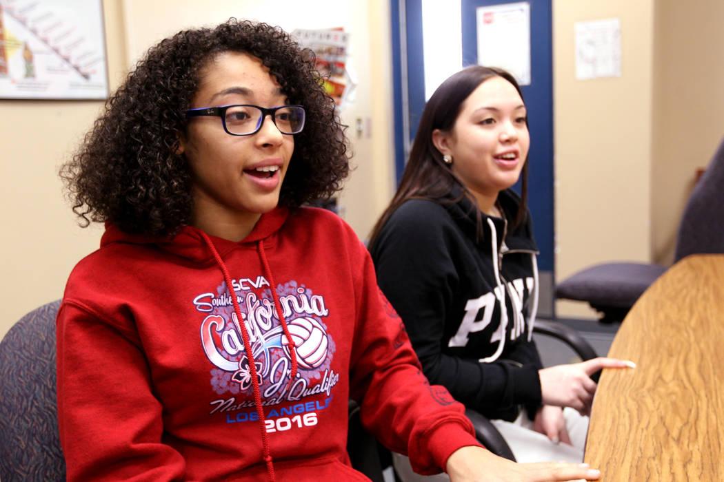 Cheyenne High School junior Miya Burns, 17, left, and junior Alanna Keen, 16, talk about the North Las Vegas school's student-run restorative justice program Wednesday, Feb. 21, 2018. Burns and Ke ...