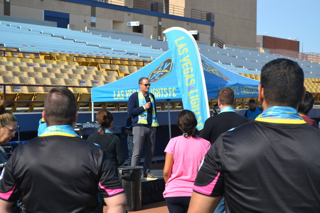 Las Vegas Lights FC coach Eric Wynalda talks to season-ticket purchasers at Cashman Field on Saturday, Nov. 17. The former soccer star lost his home on Nov. 9 in the deadly California wildfires. ( ...