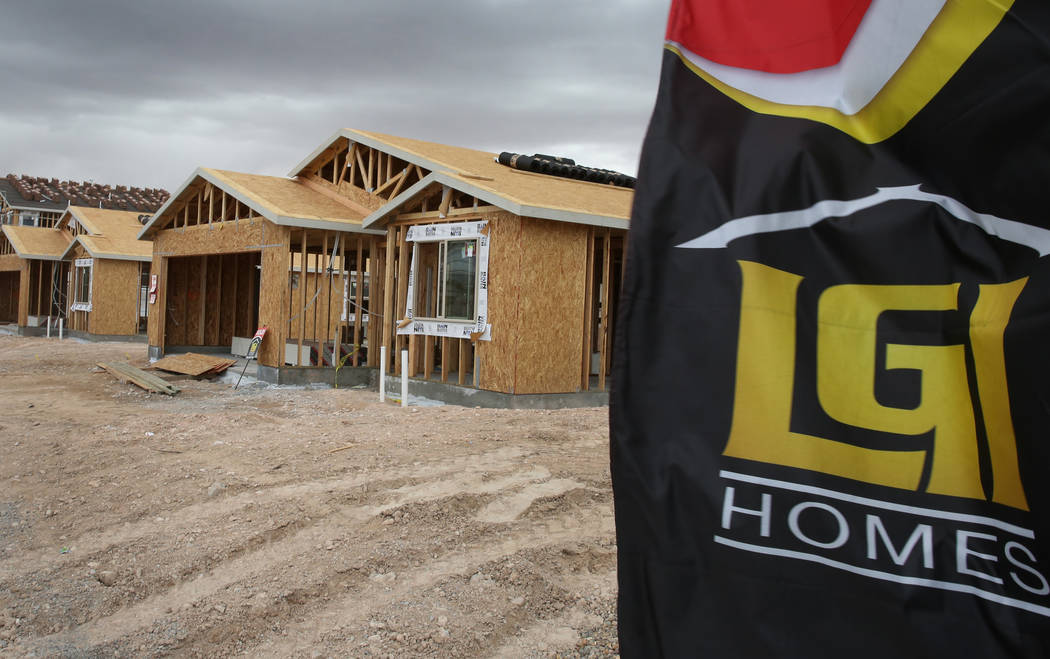 The new construction site of LGI Homes at the Intersection of E. Lake Mead Boulevard and Dolly Lane photographed on Friday, March. 8, 2019, in Las Vegas. Bizuayehu Tesfaye Las Vegas Review-Journal ...
